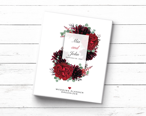 Red Floral Wedding Planner Book