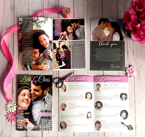 Wedding Magazine Programs PDF ONLY/ 12+ pages /DIY wedding/rustic wedding/boho wedding/wedding stationery/program template