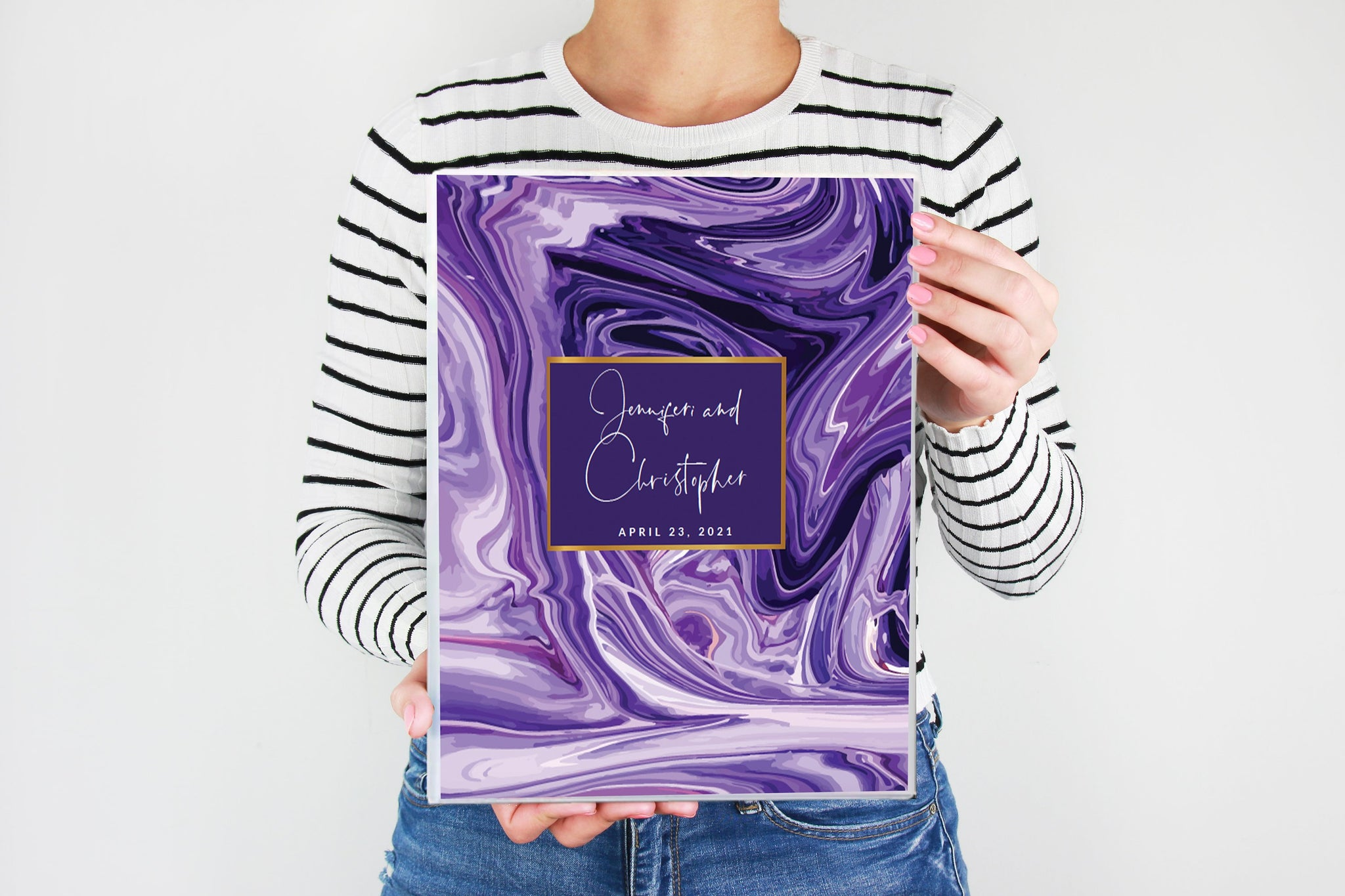 Future Mrs. Wedding Planner, Bride to be Gift, 200 PAGES, Custom Planner Book, Purple Resin, Wedding Planner Book