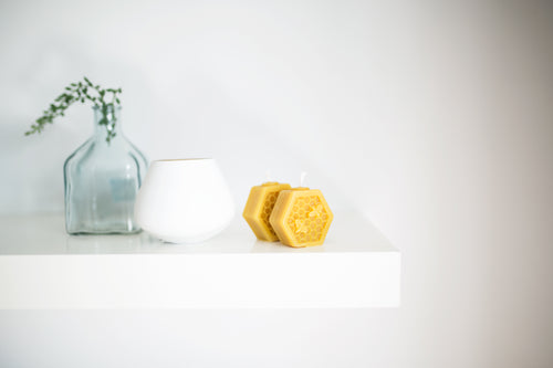 Bees wax plain hexagon candle