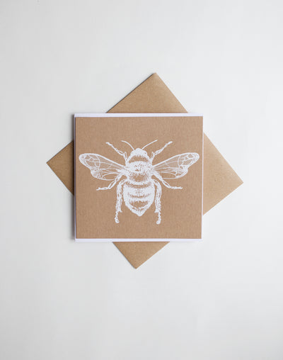 White Honey Bee screen Print card