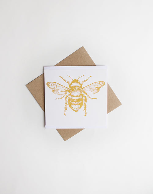 Gold Honey Bee screen Print card