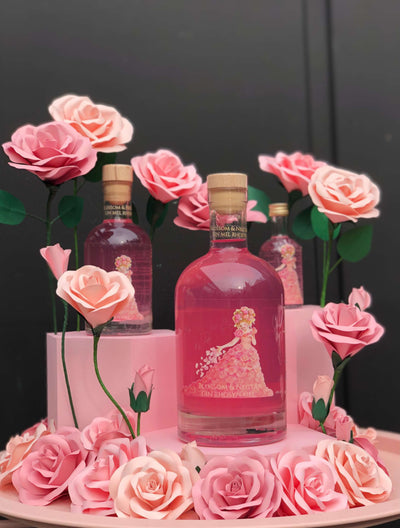 A Blossom & Nectar welsh honey and rose petal infused gin with hand painted artwork by local artist Rebecca Harry and handmade paper roses by Cartaandwood. Produced for Blossom & Nectar by Gower Gin. This is the 3rd in the hand made gin series all containing Blossom & Nectars raw welsh honey, as they are ethical natural beekeepers. Available to purchase via their website or their small shop in Pontcanna Cardiff, near where their beehives are based.