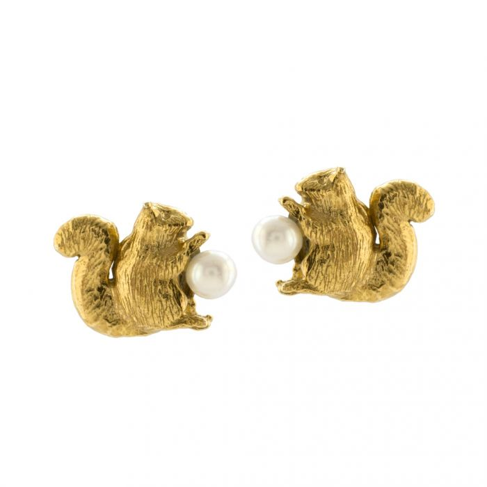 Squirrel & Pearl Studs