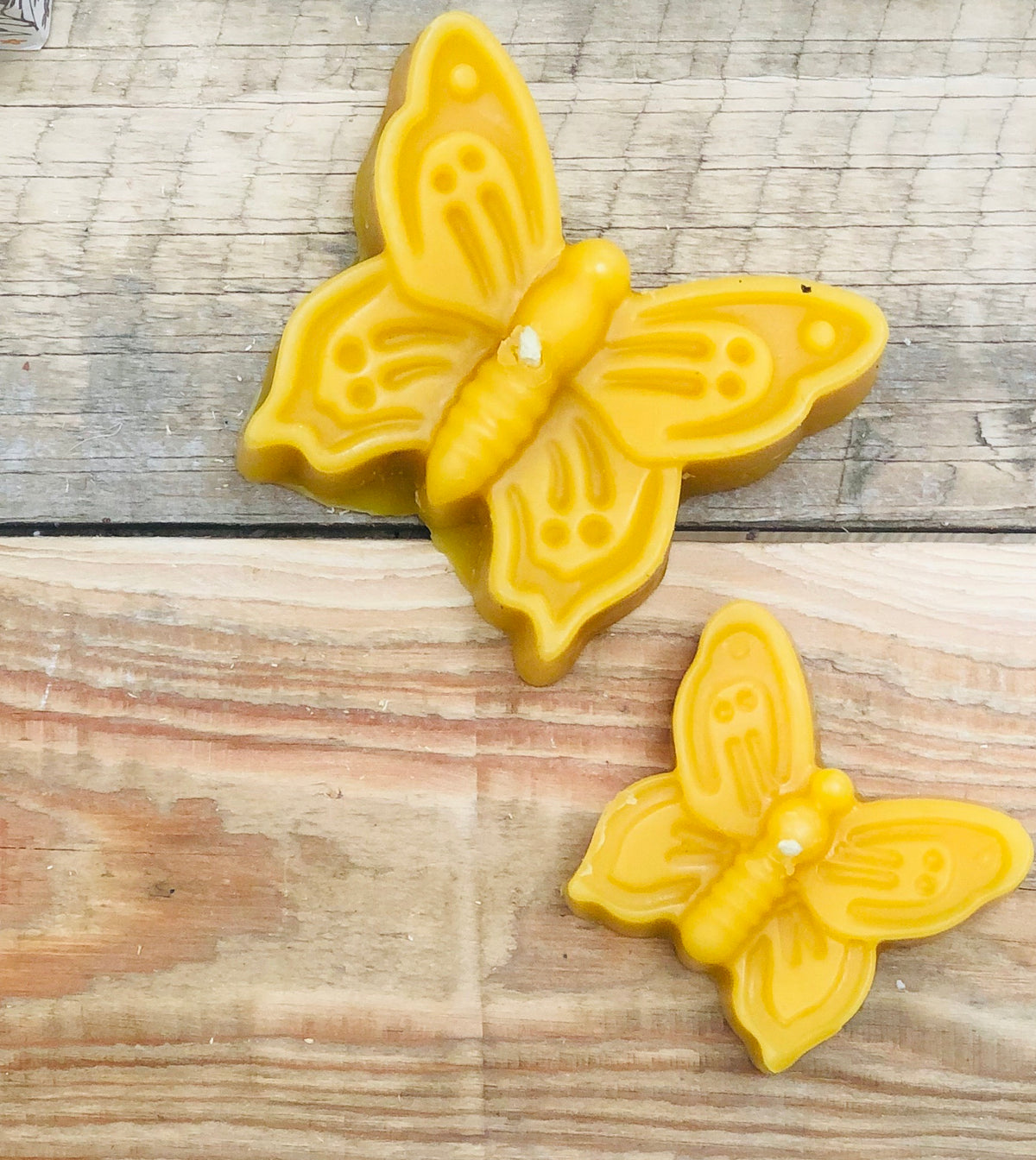 Pure beeswax candle large and small butterfly