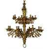 A Brass Two-Tiered Gothic Chandelier