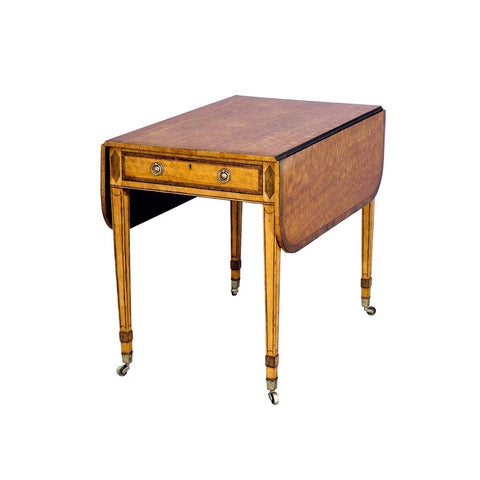 A 18th century Sheraton period satinwood pembroke table with cross-banded top and drawer. view 1
