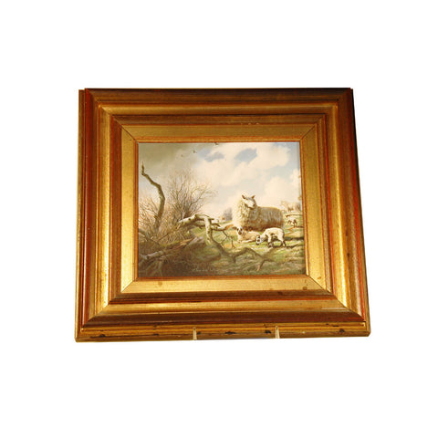 An oil on wood painting of sheep in a mountainous landscape by Daniel Van der Putten. View 1