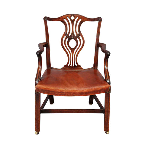 Georgian Mahogany Armchair with Saddle Seat