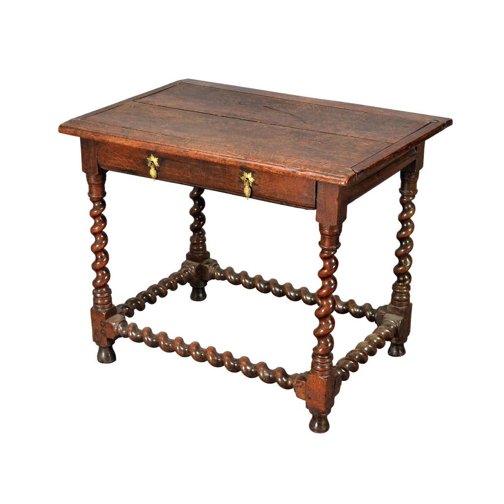 A Antique 17th Century Oak Side Table Standing On Four Barley Twist Legs.  View 1