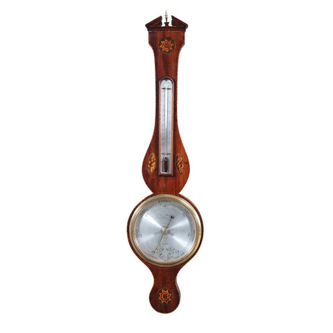 A English mahogany banjo barometer signed on the dial Ja. Smith, Waltham Abbey, Esex. view 1