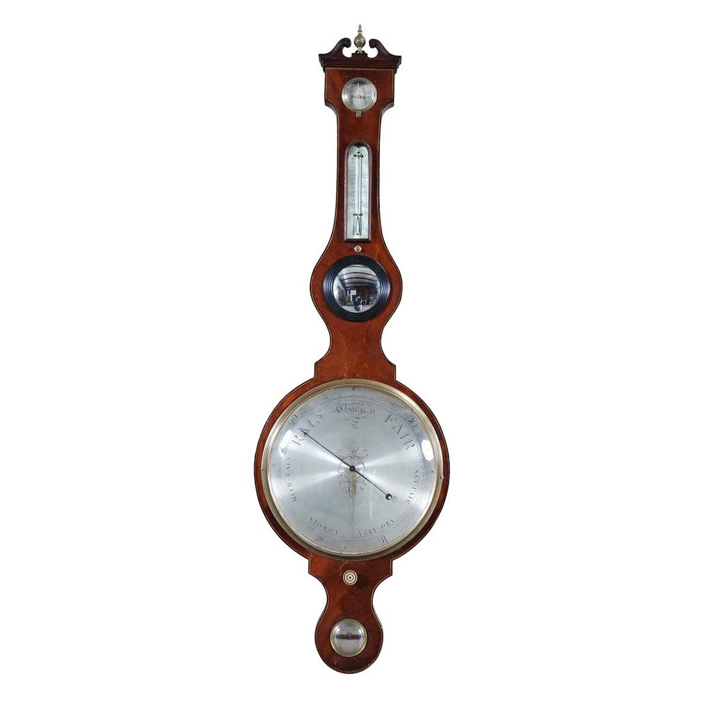 A 19th century mahogany banjo barometer with 12 dial and hygrometer. view 1