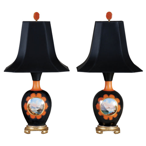Lovely pair of 19th century black and orange Paris Porcelian vases. view 1