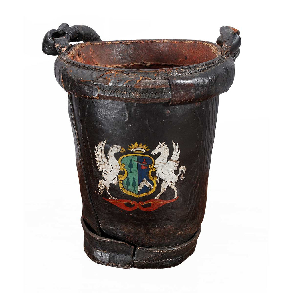 Black Leather Fire Bucket with Armorial