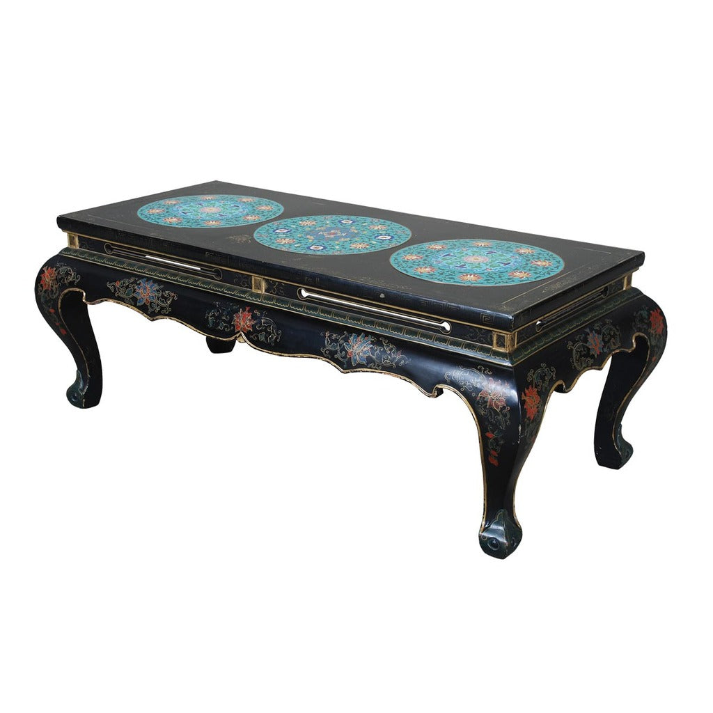 A Black Lacquer Coffee Table With Gold Decoration Standing On Cabriole  Legs. View 1