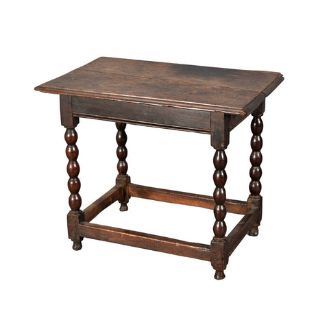 antique oak side table on bobbin turned legs