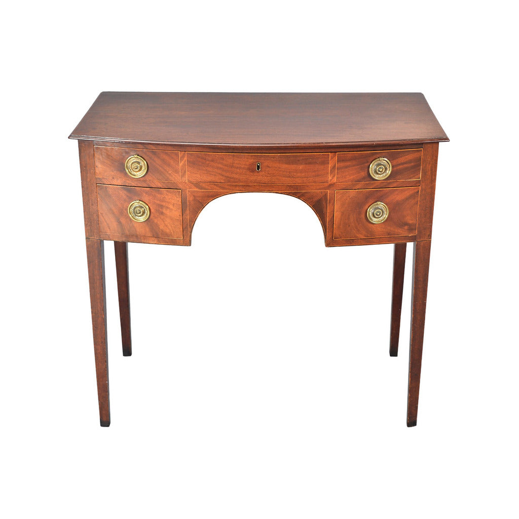 A fine quality antique bowfronted mahogany side table. view 2