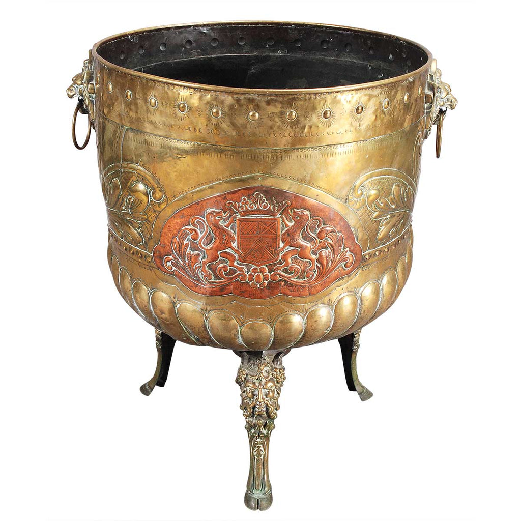 A Very Large Brass and Copper Jardiniere