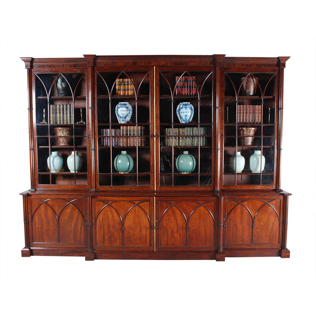 Regency Period Mahogany Bookcase-12' Long