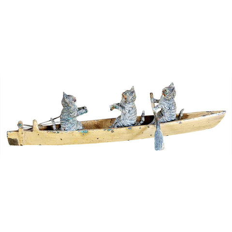 Bronze Miniature Cats in a Boat