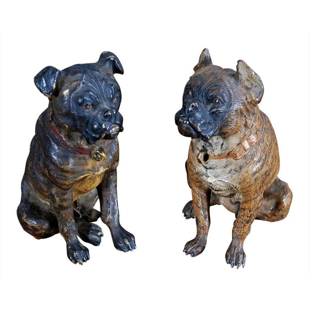 Two Miniature Bronze Dogs