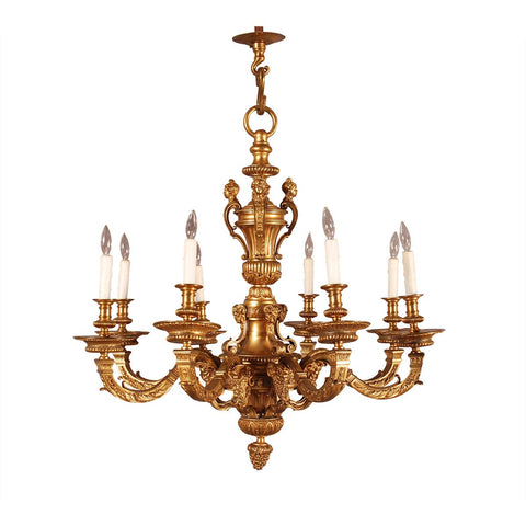 Eight-Arm Gilt Bronze Chandelier