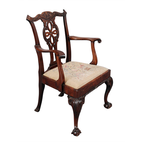 Highly Carved Chippendale Period Armchair
