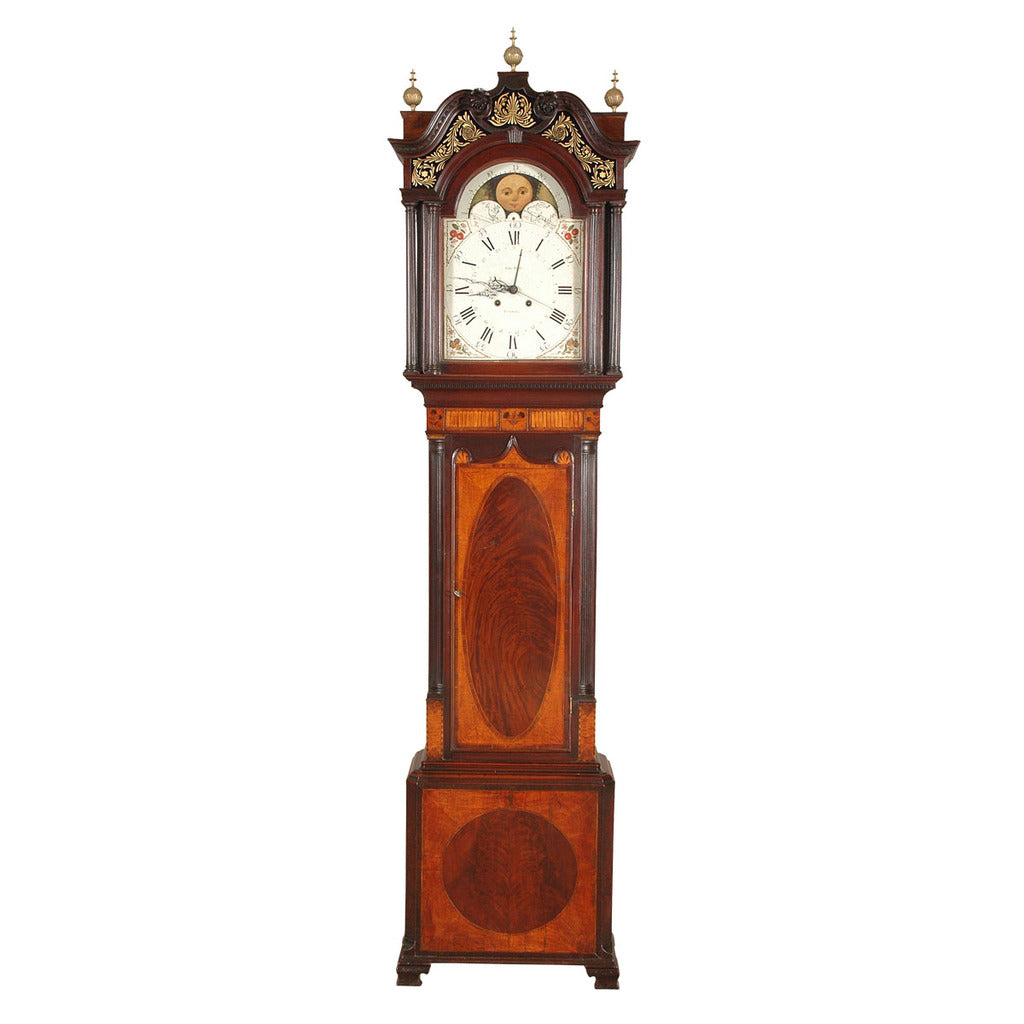 A tall case 1800's clock by Edward Bertles. View 1