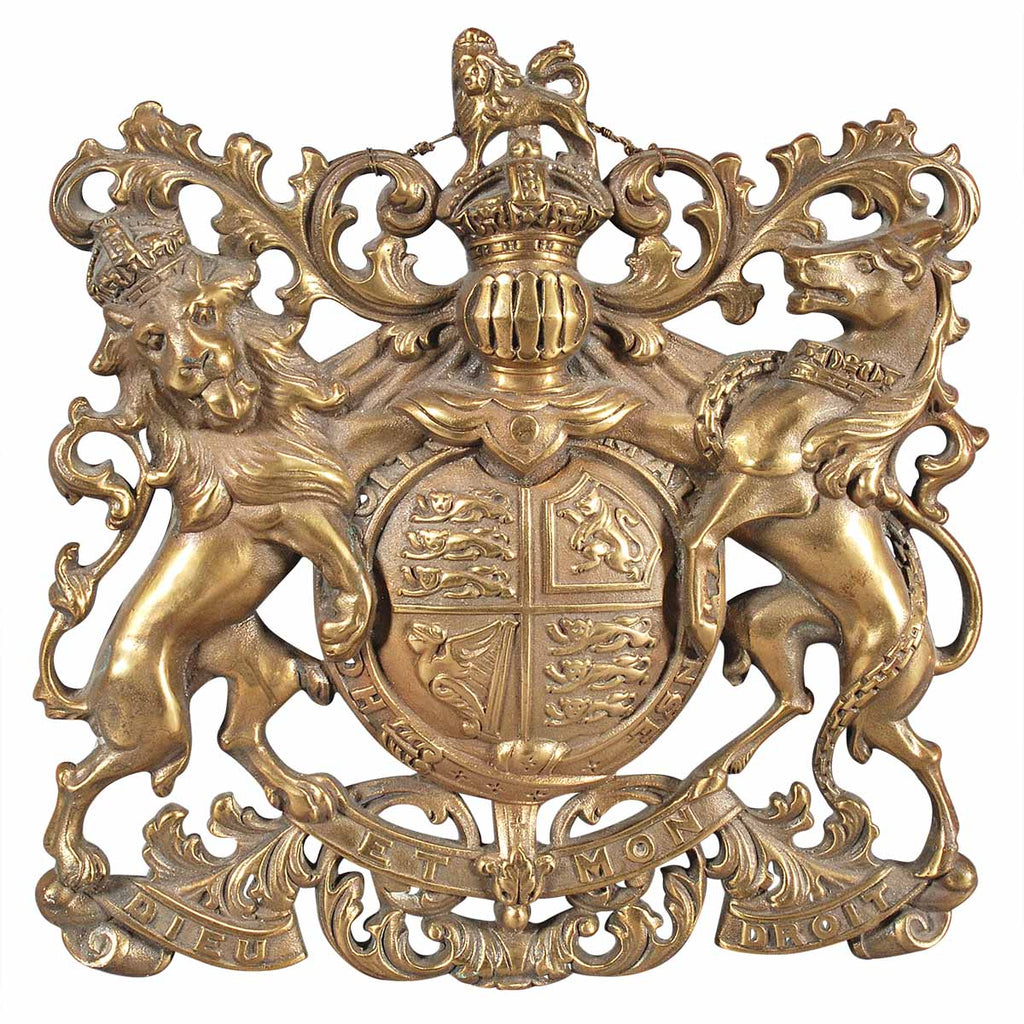 A Small Cast Brass Coat of Arms