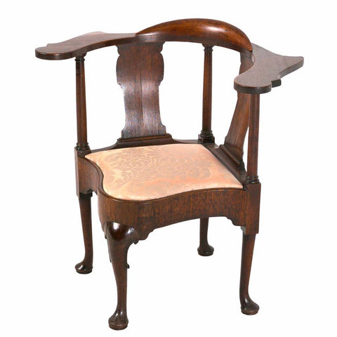 A 18th century walnut antique corner chair. view 1