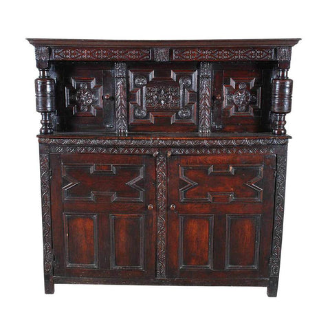 A 17th century antique English oak court cupboard. view 2