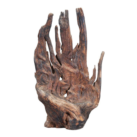 An antique large piece of natural wood resembling the shape of a human hand. view 1