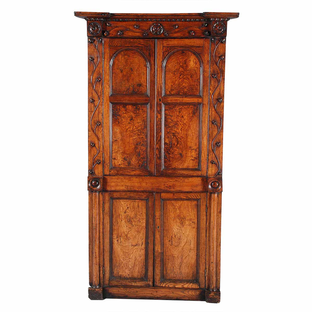 Figured Elm Corner Cabinet