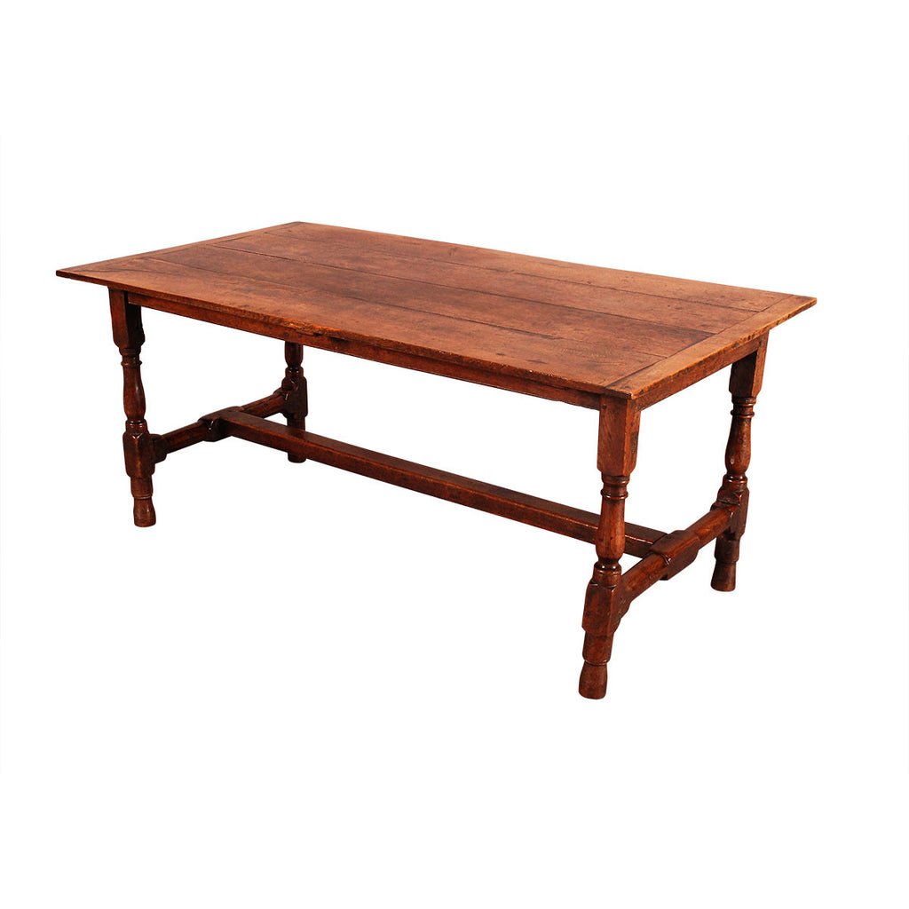 Oak Farm Table with Turned Legs and Turned Stretchers