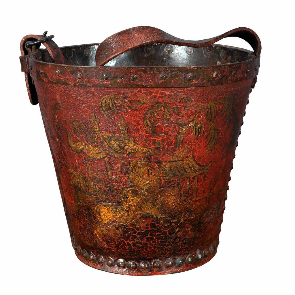 A 19th century antique red leather fire bucket decorated in Chinoiserie. view 1