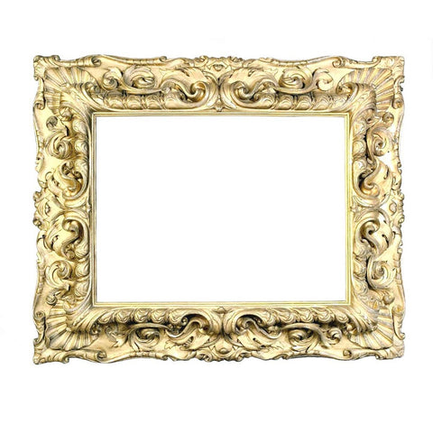 A large 18th century Italian gilt picture frame with very bold carving. view 1