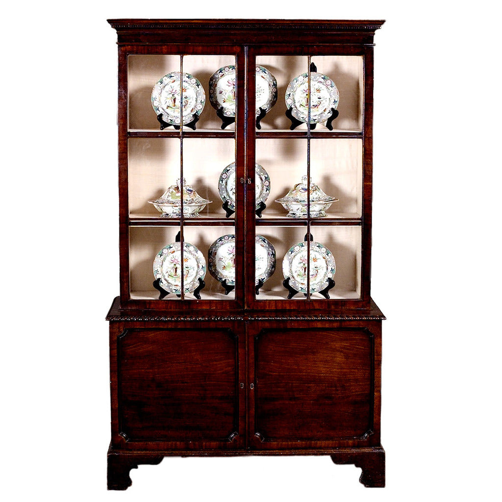 Well-proportioned English mahogany display cabinet. view 1