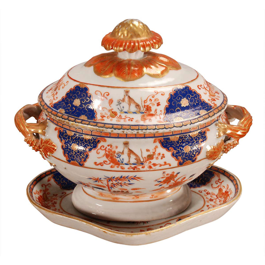 Imari Partial Dessert Service with Armorial Pattern