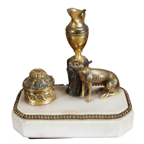 Weeks Bronze and Marble Inkwell