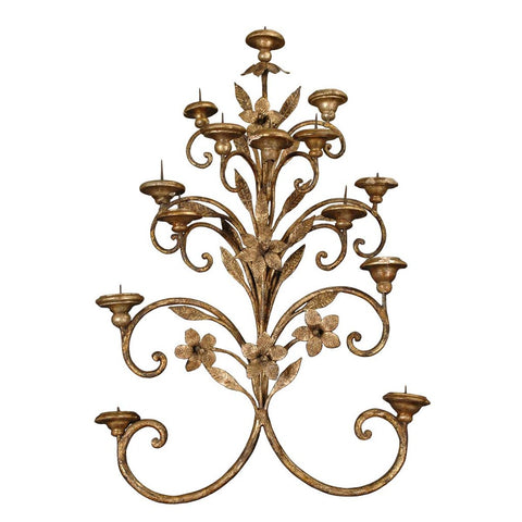 An Italian gilded wrought iron sconce with floral motif and fourteen candelabra arms. view 1