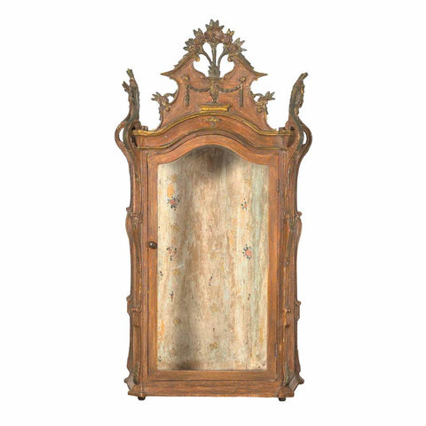 A Portuguese table top or hanging vitrine with elaborate carving and painted surface. view 1