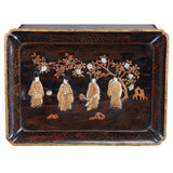 Lacquer Tray Depicting Four Robed Men