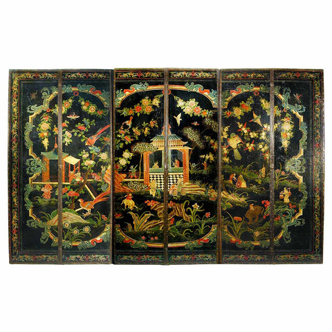 Six-Panel Leather Screen with Painted Chinoiserie Decoration