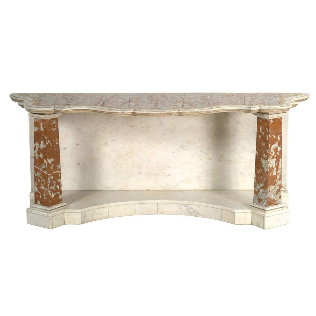 An 18th Century shaped and molded marble top on custom made marble base. View 1