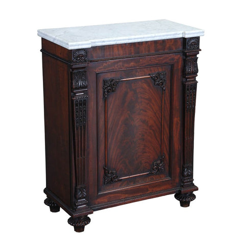 A 19th century marble-top side cabinet. view 1