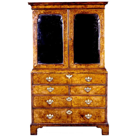 18th century English burl walnut veneered mirror door cabinet. view 1