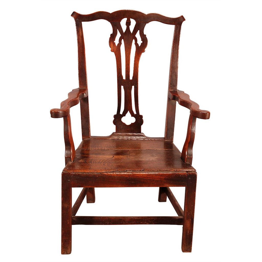 High-Back Oak Chair with Wavy Shaped Arms