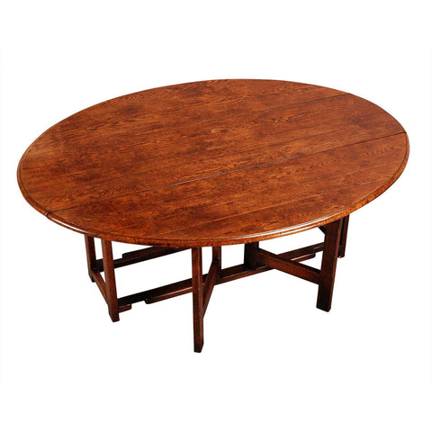 Large Oak Oval Gate-Leg Table