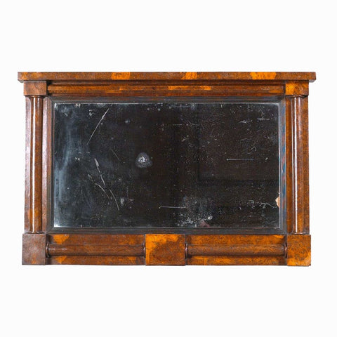 An antique English oak overmantel mirror with architectural elements and wonderful color. view 1