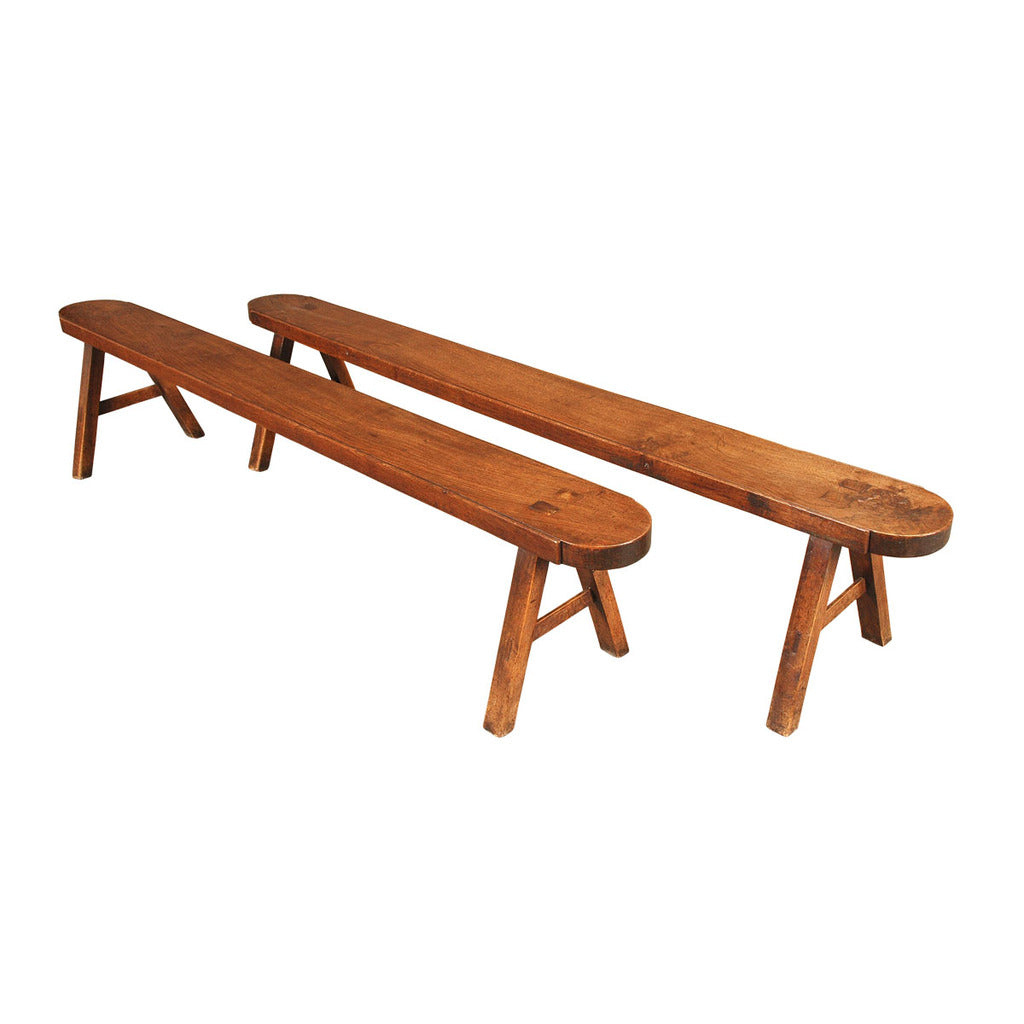 A pair of 19th century long thick-top solid oak benches. view 1